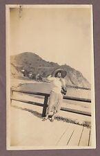 1925 Catalina Island California Snapshot Photograph Lady Wearing Sombrero
