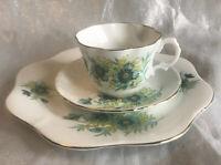 Vtg Royal Imperial England Bone China Teacup Saucer Plate Set Blue Flowers Trio