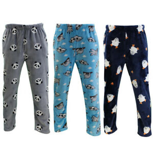 Mens Fluffy Lounge Pants Plush Sleepwear Pajamas Trousers Winter Warm Loungewear