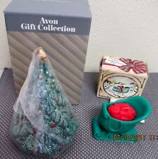 Avon Gift Collection Porcelain Fragrance Christmas Tree Pomander + Sleigh Candle