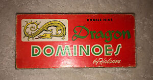 Vintage Dragon Dominoes w/ Instructions Double Nine Halsam No. 920 MADE IN USA