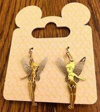 "SALE!! Disney "" Tinker Bell in Flight "" Deluxe Silver & Gold Tone Earrings NEW"