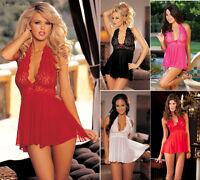 Sexy Women's Lingerie Lace Dress Babydoll Underwear Nightwear Sleepwear G-string