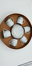 EXPRESSO PORCELAIN CUPS SAUCERS SET OF 6 ARAMCO IMPORTS TURKISH COFFEE.