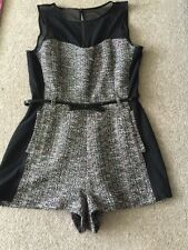 Lipsy Women's Black Pink White Wool Like Belted  Playsuit Size 12