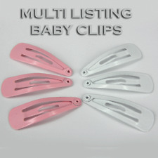 Pink / White Child Toddler Snap Hair Clips Hair Pin Clip Slide Blanks  HC7 10 50