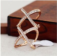Double X Flexible Armor Ring #8 Top New Fashion Charm Full Crystal Golden Metal