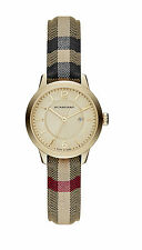 Burberry BU10104 The Classic Round Honey Heritage Check Leather Swiss 32MM NEW