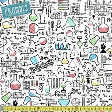 Timeless Treasures Fabric Science Chemistry White PER METRE School Geek Big Bang