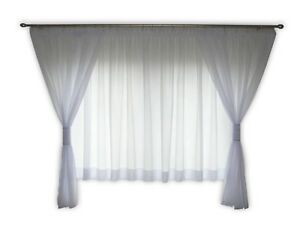 Moderne Fertiggardine Gardine Fenstergardine Weiß Store Voile 180-220 cm AG40
