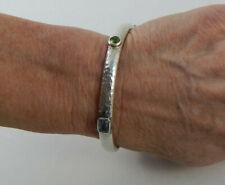 "Silpada Bracelet B1698 Bangle 2.5"" Diameter Hammered Band 5 Gemstones ~ See Pics"