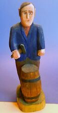 REDUCED!! Polish Folk Art Wood Carving of Barrel Maker/Cooper, signed, 1987