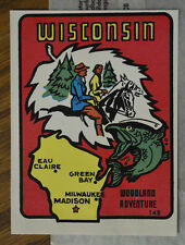 ORIGINAL TRAVEL DECAL VTG WISCONSIN TRAILER CAMPER AUTO CAR OLD FISHING  FISH WI