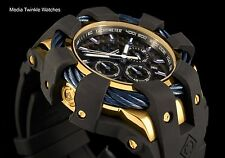 Invicta 50mm Bolt Sport Blue Bezel Gold Tone Black Dial Silicone Strap Watch