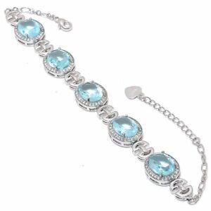"Blue Topaz & White Topaz White Rhodium Plated 925 Silver Bracelet 7-8"" T3048"