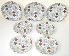 1960s Broadhurst Kathie Winkle COMPASS 4 saucers, 3 tea plates brown & mustard