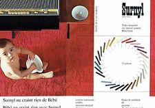 PUBLICITE ADVERTISING 126  1962  Tapis  moquette Surnyl Nylfrance (2p)
