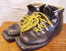 Vtg Solo Sport Cross Country Ski Boots-Leather-Black-Mens Shoe Size 8-Winter Mtn