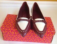 Tory Burch Darlene Flats Pointy Toe Shoe Ivory/Cabernet Size 10