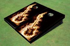 Flaming Guitar Custom Cornhole Board