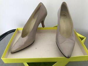 Designer Delman Beige tan Bronze Leather Pumps Stiletto Shoes US 7M Vintage