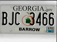 "GEORGIA passenger 2011 license plate ""BJC 3466"" ***BARROW***"