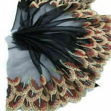 5Yrds Peacock Feather Embroidery Lace Trims Ribbon Tulle Fabric Sewing