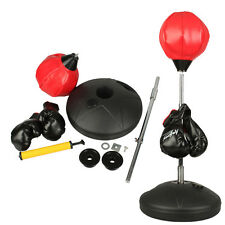 Adjust Height Children Kids Boxing Stand Speed Ball Punching Bag w/ Gloves Set