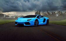 "Lamborghini Aventador Supercar Blue Poster 19"" x 13"""
