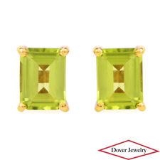 Estate 2.95ct Peridot 18K Yellow Gold Stud Earrings NR