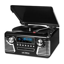 INN-V50-200-BLK Bluetooth Classic 50's Style Stereo Turntable with CD