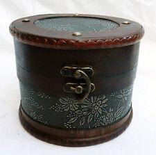 Round Wooden Storage / Trinket Box  with Embossed Detail -  NEW