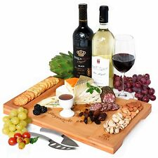 Bamboo Cheese Board, Charcuterie Platter and Serving Tray 4 Wine, Crackers, Meat