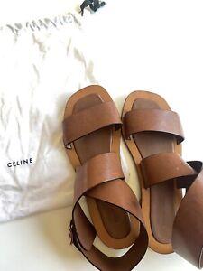 CELINE cognac leather sandals size 38.5 / 8.5 us