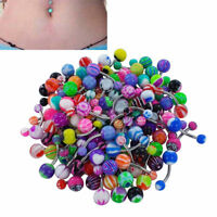 50-100pcs Belly Button Navel Rings 14g Mix Color Stainless Barbell Wholesale NEW