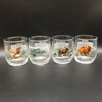SET OF 4 LIBBEY SUNOCO AMERICAN WILDLIFE GLASS BARWARE BISON MOOSE EAGLE WHALE