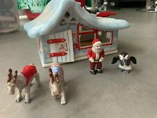 Ceramic North Pole Christmas Village House Santa Penguin Reindeer Figures
