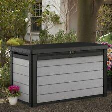 Denali 100 Gallon Resin Large Deck Box for Furniture Cushion Storage, Grey/Black