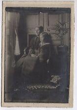 PHOTO ANCIENNE Enfant Grand-mère Costume de marin Portrait Vers 1900 Profil