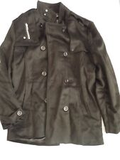 Mens coat black long mack winter coat m medium pj paul jones felt look new