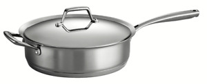 Tramontina Gourmet Prima 5 Qt Tri-ply Stainless Steel Covered Deep Saute Pan NEW