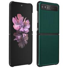 Coque Samsung Galaxy Z Flip Cuir Véritable Rigide Deux Parties Vert Foncé