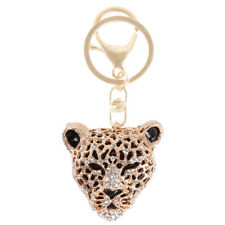 Leopard Lion Head Creative Charm Pendant Purse Bag Crystal Key Ring Chain Gift