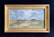 Pierre Damoye signed oil painting ~ 19th Century ~ French Farm Landscape ~ sheep