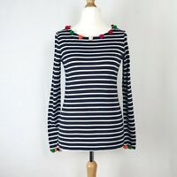 BNWT Boden Blue & White Striped Long Sleeve Top With Pom Poms UK Size 10