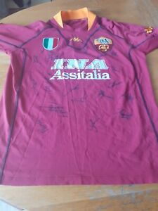 Orginal As Roma Home Football Shirt 2000 2001 Signed By The Squad