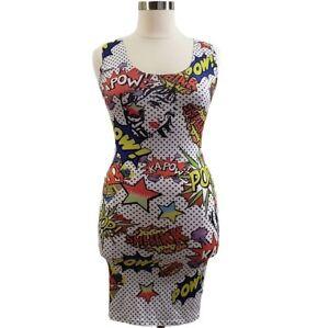 Pop Art Dress Sz   L  Print Sleeveless Bodycon Pencil Slim Mini Multicolor