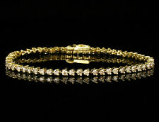 KAYS ROUND FANCY NATURAL 3.0ctw DIAMOND 14K YELLOW GOLD TENNIS LINE BRACELET