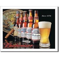 Budweiser History of Bud Beer Bottles Retro Vintage Style  Metal Tin Sign New