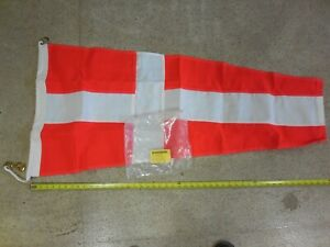 Vintage US Navy Nautical Signal Pennant 24 x48 Red/White Number 4